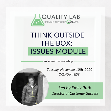 Quality Lab Event Issues Module