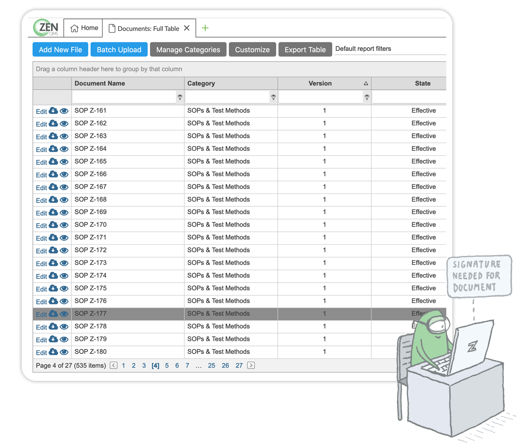 A screenshot of the Documents module and an illustration of a Zenner on their computer with a note that they have a document due for training to show how ZenQMS can automate the document management lifecycle.